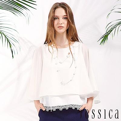 JESSICA - 清新時尚雪紡上衣(白)