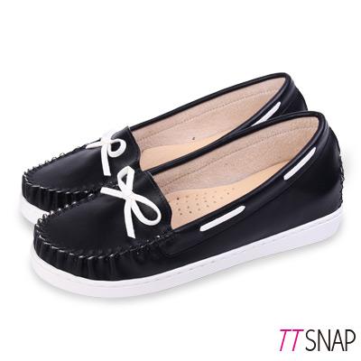 TTSNAP莫卡辛-MIT蝴蝶結隱形內增高休閒鞋 黑