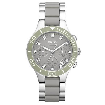 DKNY 英式女爵魅力晶鑽陶瓷計時腕錶-灰/38mm