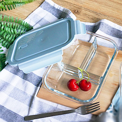 Homely Zakka 多分隔保鮮防漏玻璃餐盒-三分隔
