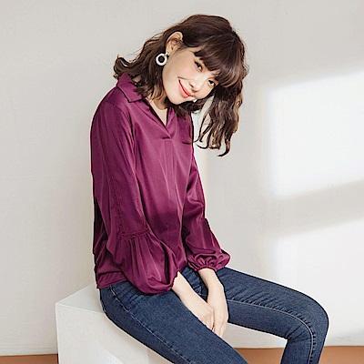純色不易皺布蕾絲點綴拋袖半開襟襯衫領長袖上衣-OB大尺碼