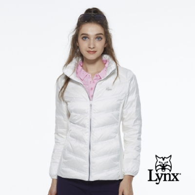 【Lynx Golf】女款保暖輕薄羽絨素面剪接款長袖外套-白色