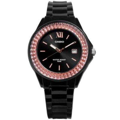 CASIO 卡西歐 羅馬耀眼日期錶-橘x黑/39mm