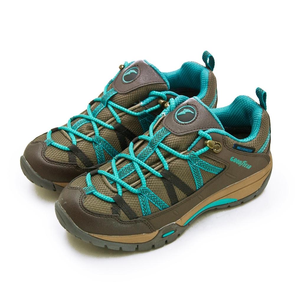 GOODYEAR 專業多功能郊山防水戶外健行鞋 咖藍綠 82533