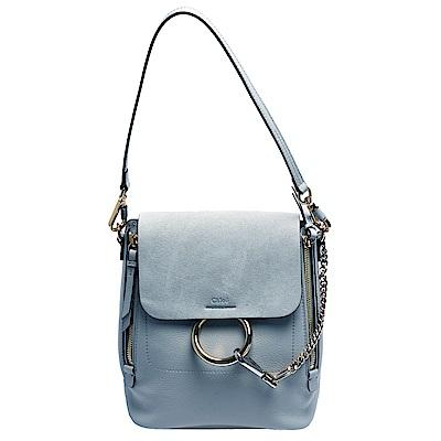 CHLOE Faye系列皮革拼接釦式肩背/斜背/後背包(小-水洗藍色)