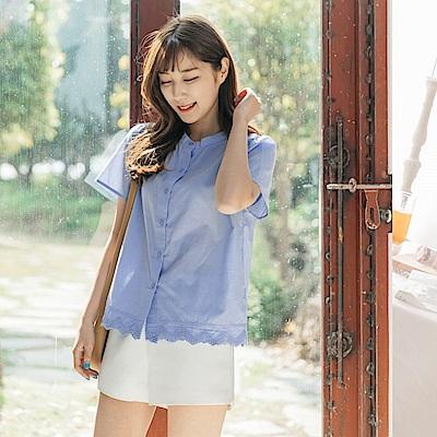 高含棉下襬造型蕾絲設計純色排釦上衣-OB大尺碼