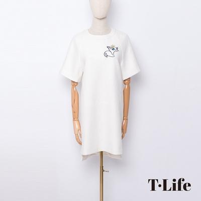 T.Life 童話狐狸王子休閒素色短袖洋裝(3色)