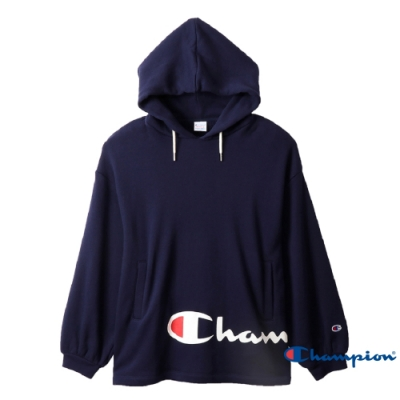 Champion Women s草寫Logo連帽Tee 深藍色