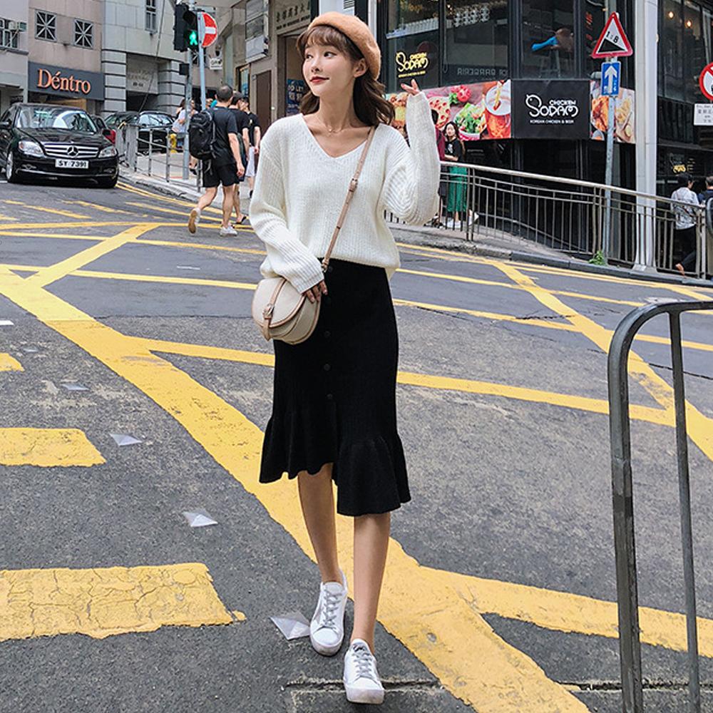 坑條紋高腰包臀針織魚尾裙 (共三色)-Kugi Girl