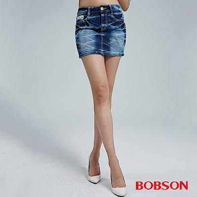 BOBSON 女款蕾絲花邊牛仔短裙