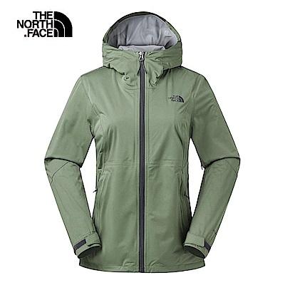 The North Face北面女款綠色防水透氣衝鋒衣 3RL4ZCE