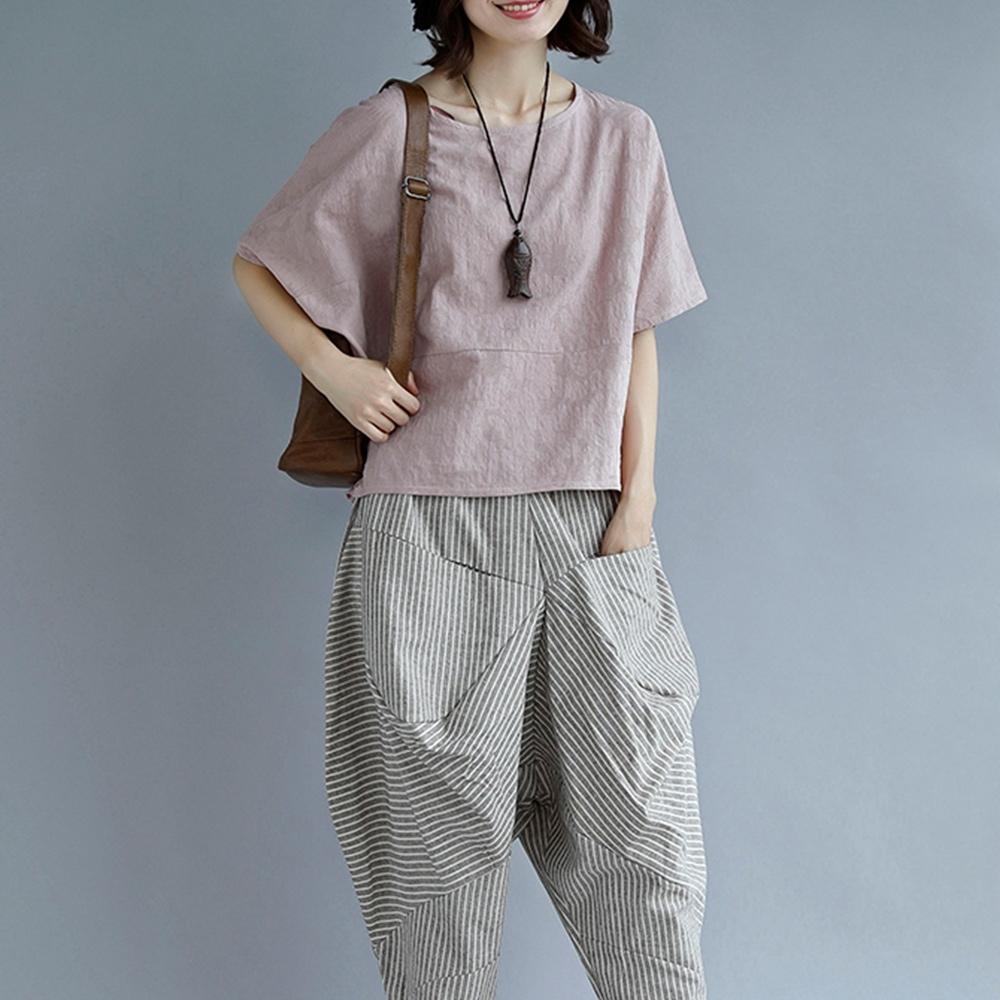 【韓國K.W.】(現貨)天真單純棉麻兩件套套裝-1色