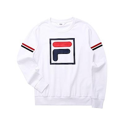 FILA 女長袖圓領T恤-白色 5TET-5509-WT