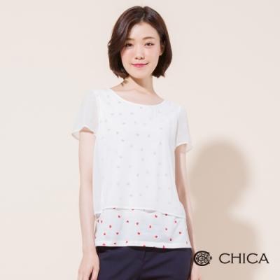 CHICA 心醉時尚雪紡假兩件短袖上衣(2色)
