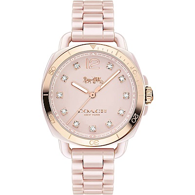 COACH Analog 紐約星光晶鑽陶瓷腕錶(14502754)-粉色/34mm