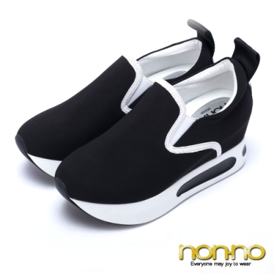 nonno 諾諾 舒適百搭 簡約素面彈性布內增高休閒鞋-黑