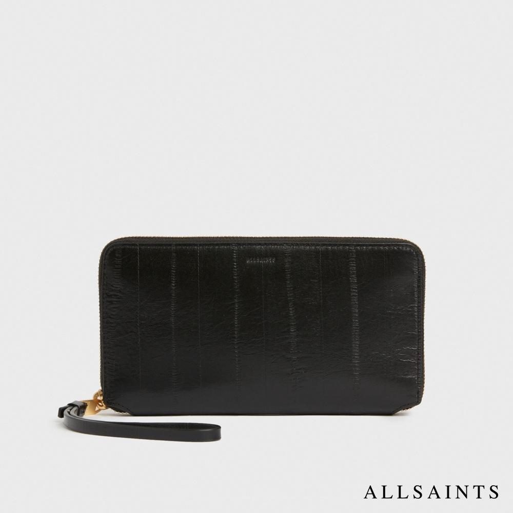ALLSAINTS FETCH 輕鬆小巧金屬拉鍊造型隔層牛皮手拿包-黑