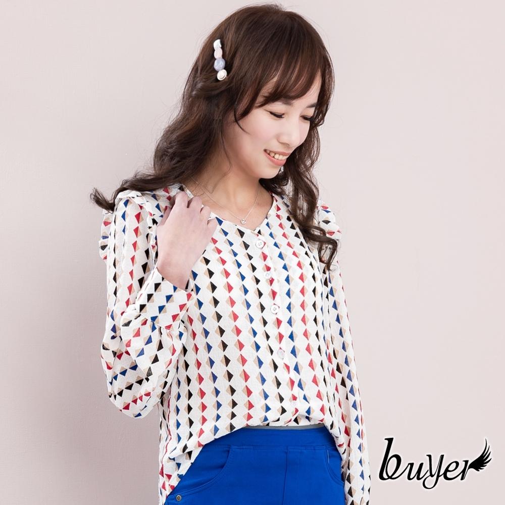 【白鵝buyer】韓國製 復古菱格雪紡襯衫(藍白)