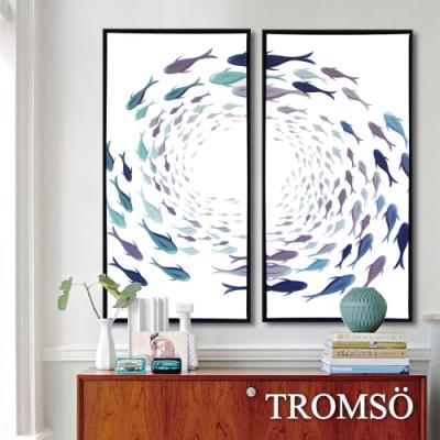 TROMSO北歐時代風尚有框畫-無限游魚40X80CM