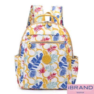 iBrand後背包 輕盈防潑水尼龍大容量後背包-樹葉印花