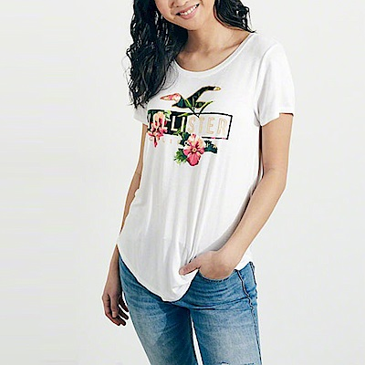 HCO Hollister 海鷗 經典印刷文字圖案短袖T恤(女)-白色