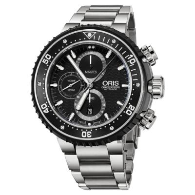 Oris豪利時 ProDiver 千米防水鈦金屬計時套錶-黑x銀/51mm