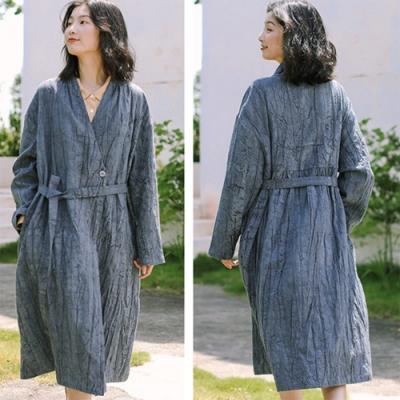 風衣-高端樹皮紋理復古斜襟棉麻長版外套-設計所在