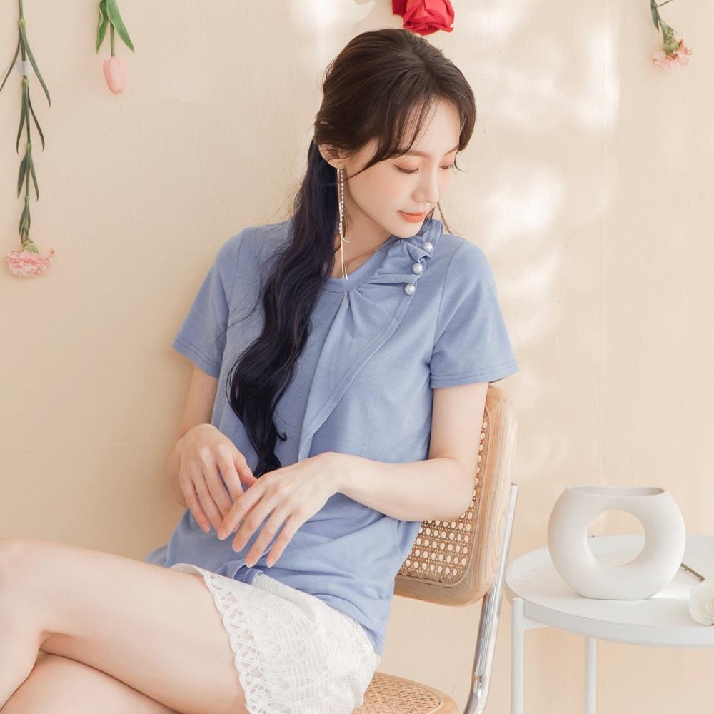 台灣製造.優雅造型荷葉綴珍珠短袖上衣-OB大尺碼