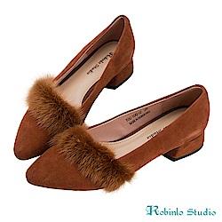 Robinlo 名媛氣質貂毛微尖頭粗跟鞋 棕