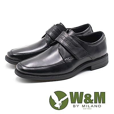 W&M 方頭壓花魔鬼氈皮鞋 男鞋 - 黑