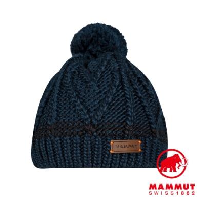 【Mammut 長毛象】Sally Beanie 保暖針織毛球羊毛帽 海洋藍 #1191-00430