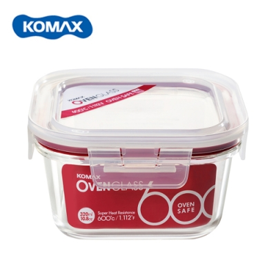 韓國Komax 扣美斯耐熱玻璃正型保鮮盒(烤箱.微波爐可用)320ml