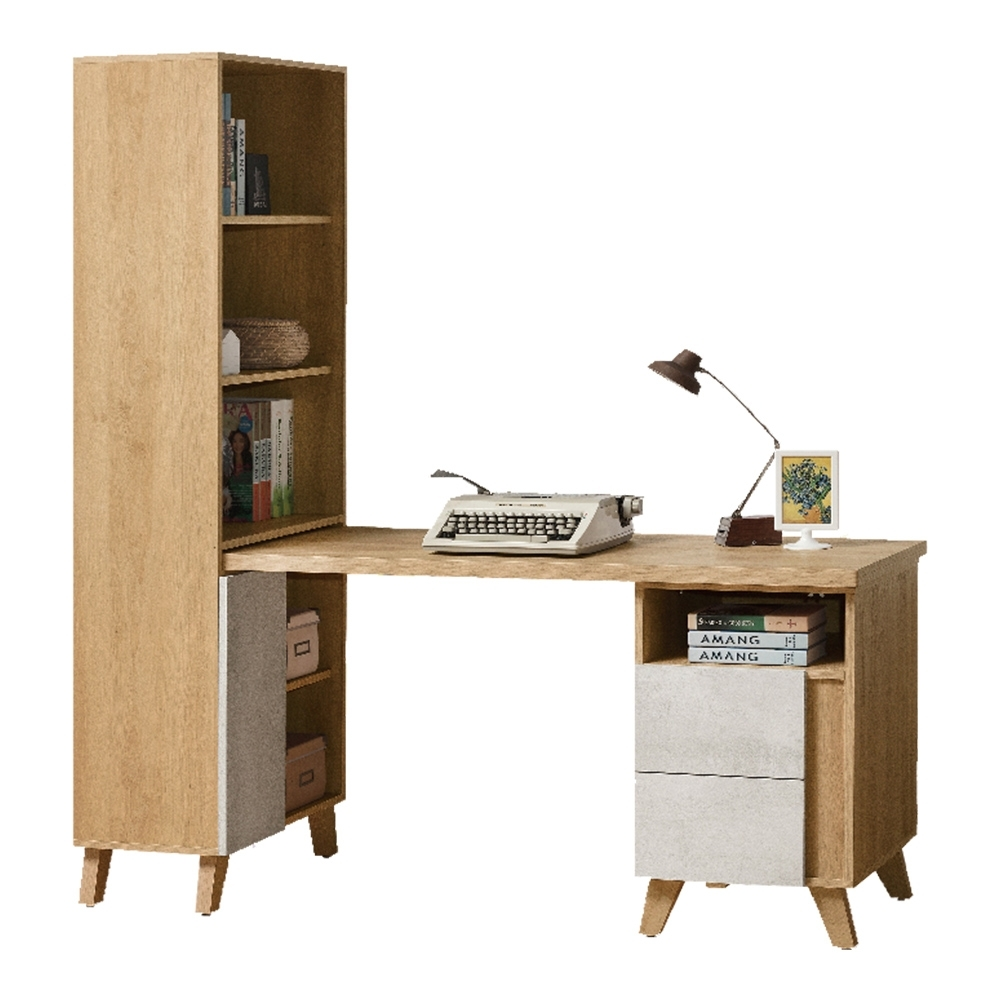 D&T德泰傢俱 JOYE清水模風格2尺書櫃搭配書桌-150x55x150cm