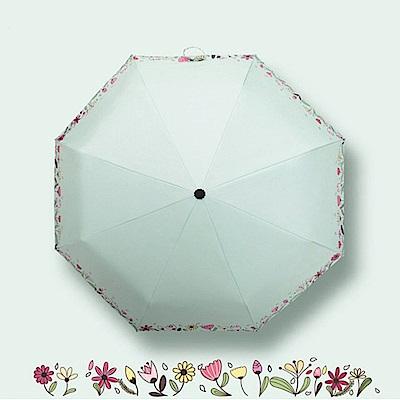 幸福青鳥 職人手作黑膠晴雨傘/降溫防曬傘/手開陽傘S4_綠意盎然