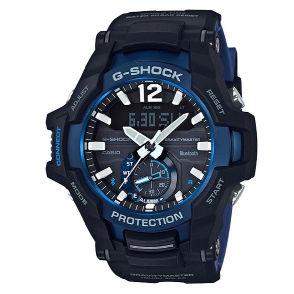 G-SHOCK 飛行員專屬太陽能藍芽錶-黑x藍(GR-B100-1A2)/53.8mm