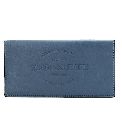 COACH 大馬LOGO皮革壓紋二折長夾(灰藍)