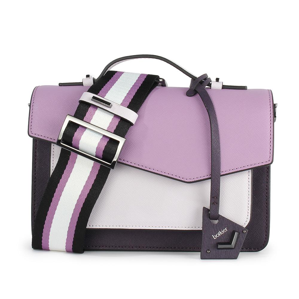 botkier Cobble Hill 拼接撞色防刮皮革手提/斜背兩用風琴包-粉紫/深紫