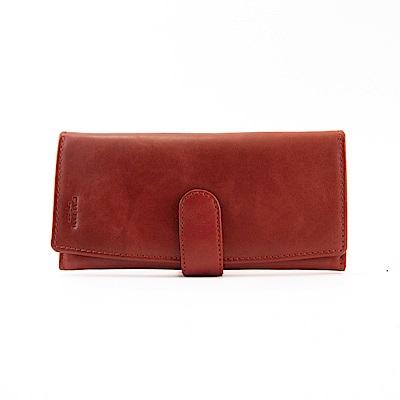 CALTAN-流線設計長夾 女夾 多夾層真皮牛皮-1850cd-紅