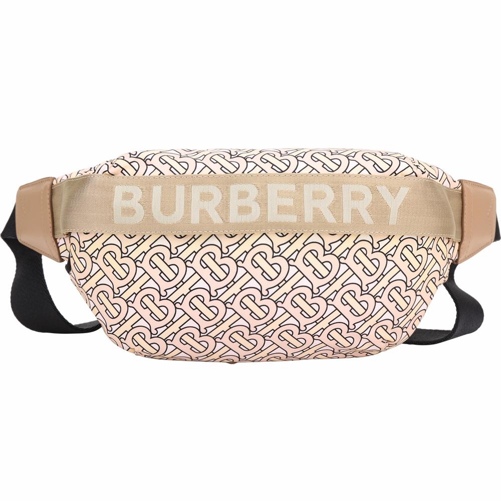 BURBERRY TB 字母押花織帶拼尼龍胸肩背/腰包(裸色)