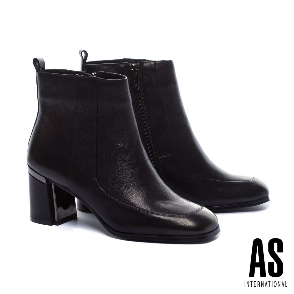 短靴 AS 復古率性簡約全真皮方頭粗高跟短靴-黑