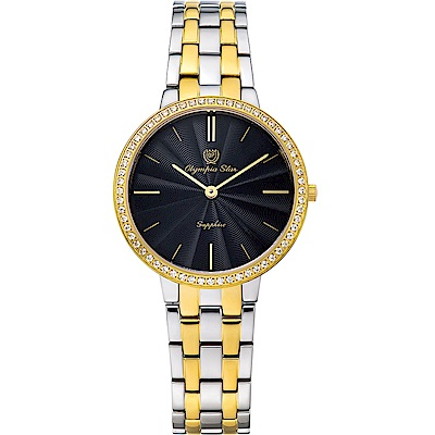OlympiaStar奧林比亞之星 時尚水波紋晶鑽腕錶-雙色34mm  58060DLSK