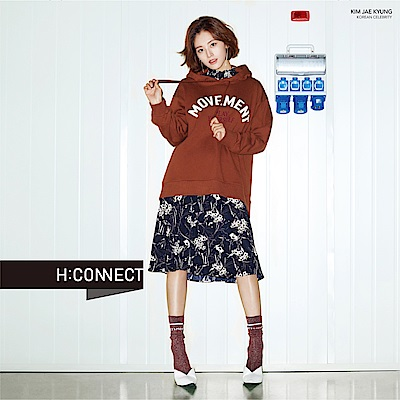 H:CONNECT 韓國品牌 女裝-小立領印花收腰洋裝-藍