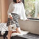 暖感厚實平織千鳥紋A字短裙-OB大尺碼
