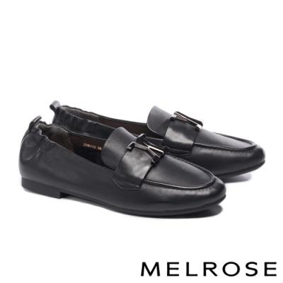 低跟鞋 MELROSE 質感知性金屬飾釦全真皮樂福低跟鞋-黑