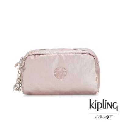 Kipling 嬌柔玫瑰金色長形化妝包-GLEAM