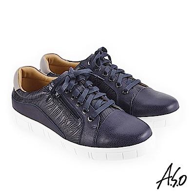 A.S.O 輕量抗震 異材質混搭休閒鞋 藍
