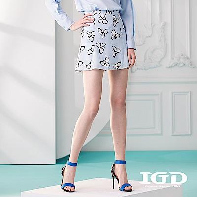 IGD英格麗 蝴蝶結印花剪接短裙-藍色