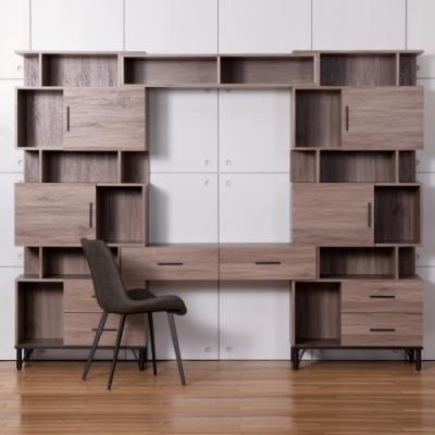 D&T德泰傢俱 BROOK淺胡桃木可調整書櫃書桌組-250x40x200cm