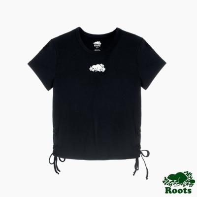 Roots 女裝- 椒鹽灰系列 側抽繩短袖T恤-黑色