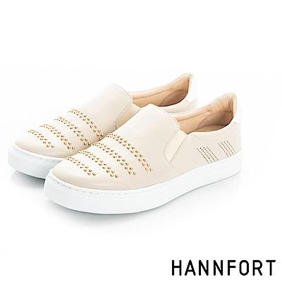 HANNFORT CAMPUS優雅鉚釘休閒鞋-女-拿鐵米
